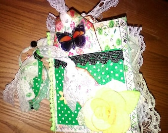 Beautiful green fabric mini journal