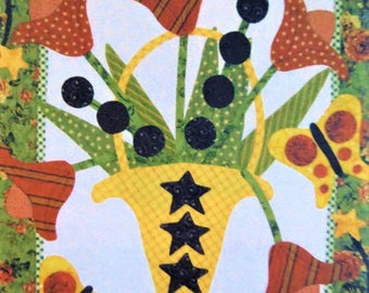 Katie's Tulips Quilt Pattern, Flowers and Butterflies, Pat Sloan Design, Applique Throw,  Wall Quilt Throw Pattern