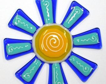Glassworks Northwest - Brilliant Blue and Turquoise Flower Suncatcher - Fused Glass Suncatcher