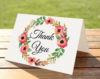 Wedding Thank You Card Printable, Floral Thank you Card, Custom Wedding Thank you Card, Rustic Thank you Card, Thank you Digital
