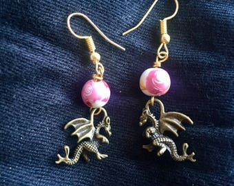 Baby Dragon Earrings with Pink Rose Beads