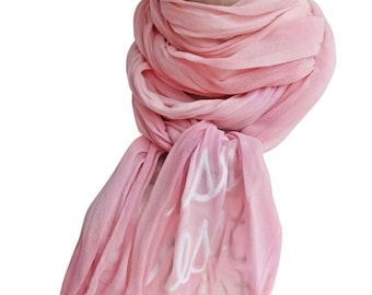 Resist Trump, skinny scarves, pink scarf, pink crinkle scarf, silk scarf, silk, feminist scarf, womens rights, hand printed, ready to ship