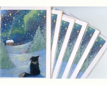 6 x Border Collie dog Christmas greeting cards all is bright snow Susan Alison