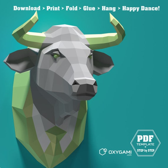 Faux taxidermy cow papercraft bull pdf kit 3d diy bull solutioingenieria Choice Image