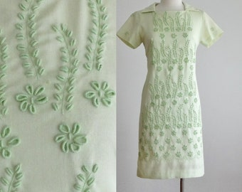 60s fern embroidered dress - 1960s vintage mint green dress - woven cotton embroidery - shift mod retro