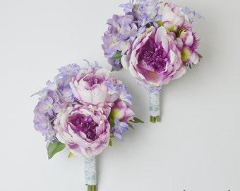 Bridesmaid Bouquet, Silk Flower Bouquet, Peony Bouquet, Lavender Peony Bouquet, Peony and Wildflower Bouquet, Silk Bridesmaid Bouquet, Beach