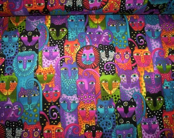 """1 yd Wild Ones Flannel fabric by Laurel Burch for Clothworks Fabrics  Her signature vivid colors 2.5"""" cats allover"""