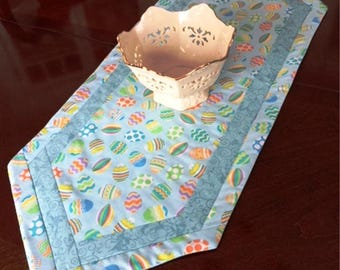 Blue Easter Quilted Centerpiece Runner, Small Easter Table Runner, Easter Egg Table Runner, Handmade Easter Table Runner, Quilted Easter