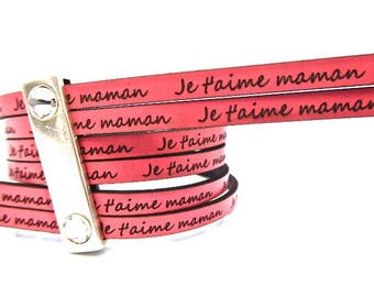 Pink flat leather, 5 mm, with message I love you MOM, sold by 18 cm