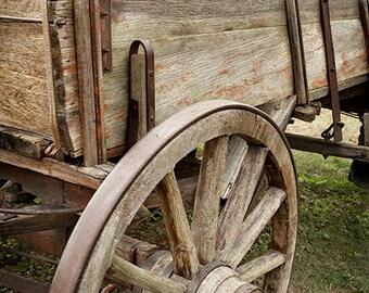 Wooden Wagon Photograph, Wagon Wheel,  Wild West, Farmhouse Wall Art, Rustic Home Decor, Farm, Rural, Modern Country Decor - Wooden Wagon