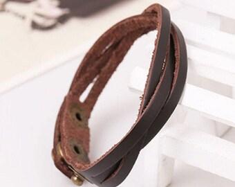 Men's Vintage Leather Snap Bracelet