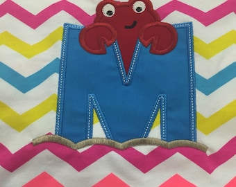 Summer embroidered/applique Letter with Crab