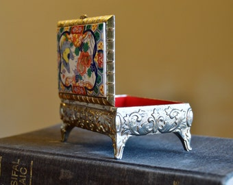 F.B. Rogers silver plated ceramic trinket box, enameled floral jewelry box