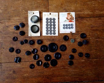 1950's early 1960's Black/ Gray Vintage Button Lot. B.G.E, Glamour Girl, and Le Chic. Loose and Carded. B. Blumenthal and Company