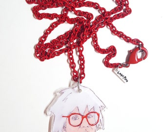 Warhol Necklace on Vintage Red Chain