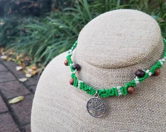 Tree of Life Hemp Necklace, Green, Natural, Wooden Beads, Adjustable, Micromacrame