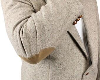Elbow Patch Blazer 44R Vintage Beige Flecked Wool Professor Jacket Sports Coat Free US Shipping