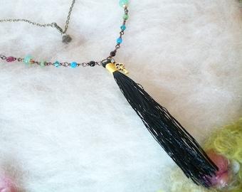 Tassel Necklace Black Rainbow Boho Glass Bead Jewelry Hippie Love Beads Flower Filigree Bead Caps Long Beaded Bronze Chain