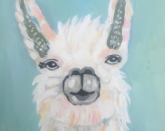 Llama Painting Abstract Original Painting on 12x16x1.5 on stretched canvas by Karen Fields