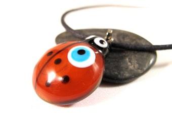 Red Ladybug Evil Eye Pendant