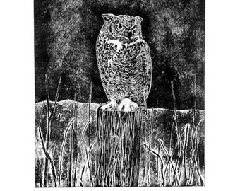 Owl Collagraph Print