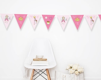 Princess garland, Princess bunting, PRINTABLE Princess party decorations, Princess party bunting, Princess party decor, Princess banner,