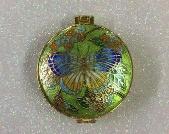 Enamel Cloisonné Butterfly Trinket Jewelry Pill Box
