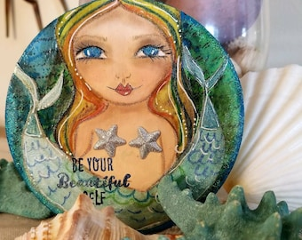 Two tailed MERMAID. Be your BEAUTIFUL self. Original art by Tiffanie Seiler
