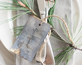 Grey Watercolours & Faux Gold Foil - Hang Tags