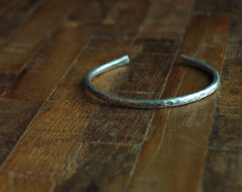 Solid Sterling Silver Hammered Bracelet Cuff - 4mm