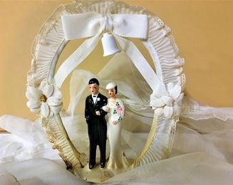 Wedding Cake Topper Art Deco Victorian Bride Groom Vintage Antique Chalkware