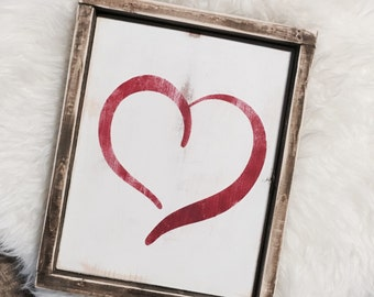 Heart Sign / Heart Decor / Valentine's Day Sign / Valentine's Day Sign / Wooden Sign / Framed Wooden Sign / Wood Sign