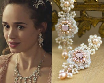 "As Seen on Reign | Small Pink Pearl Bridal Chandelier Earrings | Blush Crystal Wedding Posts | Spring Summer Wedding ""Flora"""