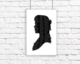 Alice In Wonderland Large Silhouette Poster Print Black and White Lewis Carroll Quote Literature