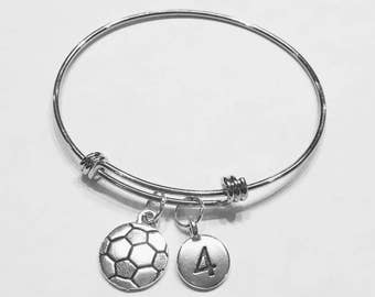 Bangle Bracelet, Soccer Bangle, Sports Number Bangle, Soccer Mom Gift Bracelet