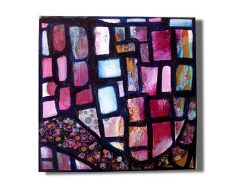 Original artwork with structure,Abstract painting on canvas,15.7 x 15.7 inches