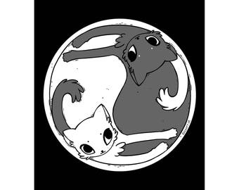 Black & White Yin Yang Cats A5 Art Print