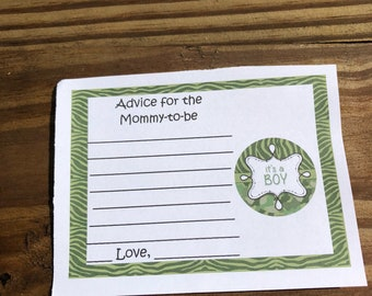Personalized Baby Shower Advice Cards Camo Print Green Camo Pink Camo