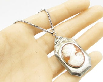 "925 sterling silver - vintage cameo engraved 18"" locket & necklace (opens) n1029"