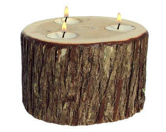 Tree Stump Candle Holder, Stump Candle, Candle Stump