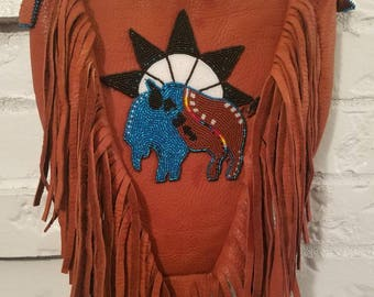 Native Style Beaded Bison Purse
