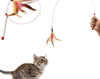 Cat fishing pole, Feather cat toy, best cat toys, kitten toys, interactive cat toys, gifts for cat lovers, cat gifts