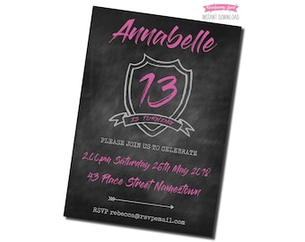 Printable Pink Coat Of Arms Birthday Party Invitation - Chalkboard Background
