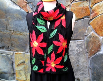 Nuno felt scarf: red merino wool flowers