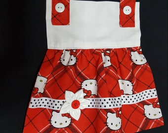 Little Girl Bib/Apron in a Hello Kitty print