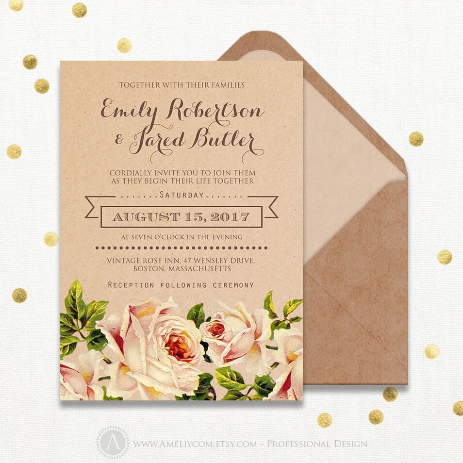 Kraft wedding invitation printable rustic peach cream roses zoom pronofoot35fo Images