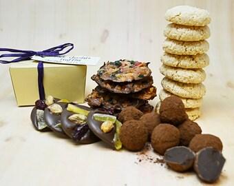 Gluten Free gift basket with dark chocolate truffles, Mother's Day, Birthday gift idea