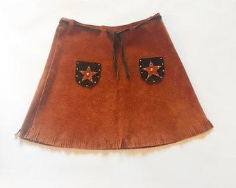 Vintage en cuir daim à franges jupe Sherrif S
