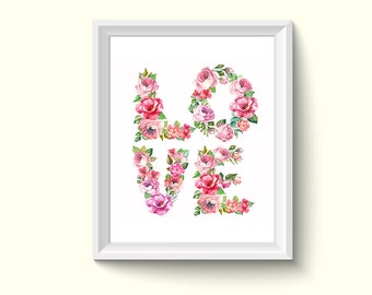 Love Letter Flowers Watercolor Painting Poster Art Print P158