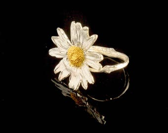 Real Flower, Daisy Ring, Sterling Silver, Eco Friendly, Organic Jewelry, Electroplating, Botanic Nature, Recycled Silver, Mother Nature